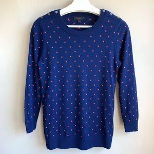 Jcrew polkadot Marino wool sweater EUC